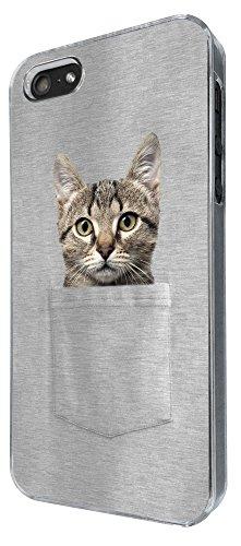 615 - Cute Cat hiding in pocket Design iphone 5 5S Coque Fashion Trend Case Coque Protection Cover plastique et métal