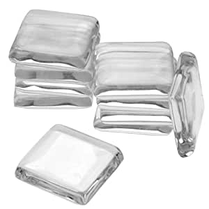 Beadaholique 7/8-Inch Square Small 10-Piece Clear Glass Jewelry Pendant Tiles