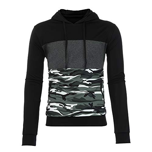 Clearance Mens Camo Hoodie Sweatshirt,Realdo Mens Cotton Blend Splice Camouflage Military Combat Hooded Pullover -