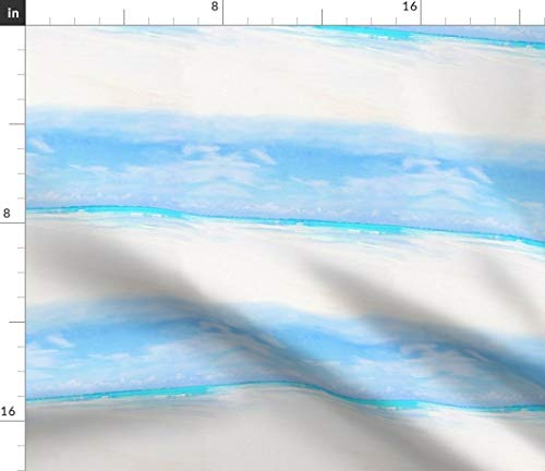 Spoonflower French Riviera Stripes Fabric - Blue Stripe Ocean Beach France Watercolor Stripes Ocean Summer Vacation Swimming Pool by Lilyoake Printed on Fleece Fabric by The - Ferrat Cap Riviera