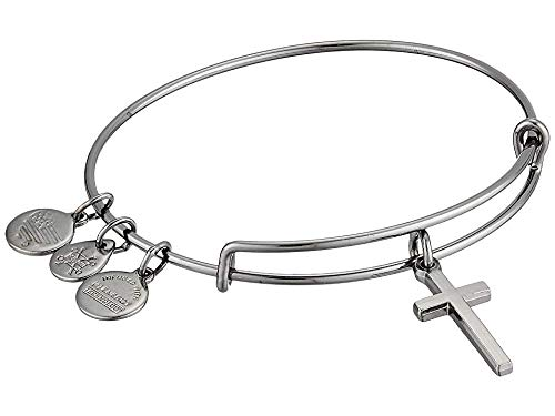 Alex and Ani Women's Cross II Bangle Midnight Silver Bracelet, Midnight Silver (Alex And Ani Bangles Cross)