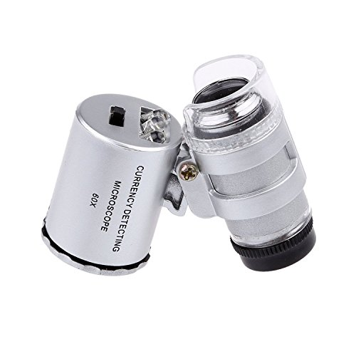 LED Illuminated Portable 60X Jewelers Loupe Magnifier - with LED & UV Lights Magnifying Eye Loop Stand - Best for Jewelry Identifying Type, Diamonds, Coins, Miniatures, Engravings, Markings ()