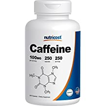 Nutricost Caffeine Pills 100mg Per Serving, 250 Capsules