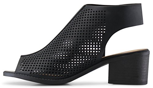 Marco Republic Tuscany Girls Kids Childrens Peep Toe Slingback Laser-Cut Chunky Block Heels Sandals - (Black) - Big Kid 4 by MARCOREPUBLIC (Image #3)