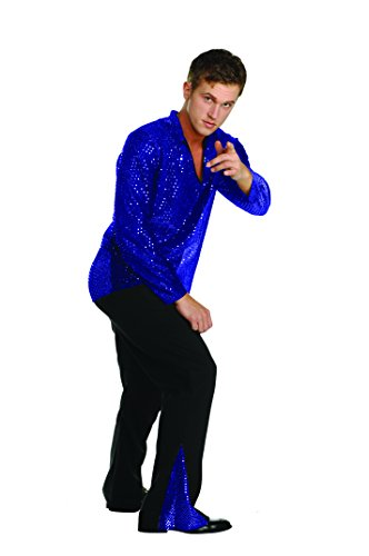 [RG Costumes 80173-S 70s Dance Fever Silver Shirt - Size Adult Standard] (70s Costumes Men)