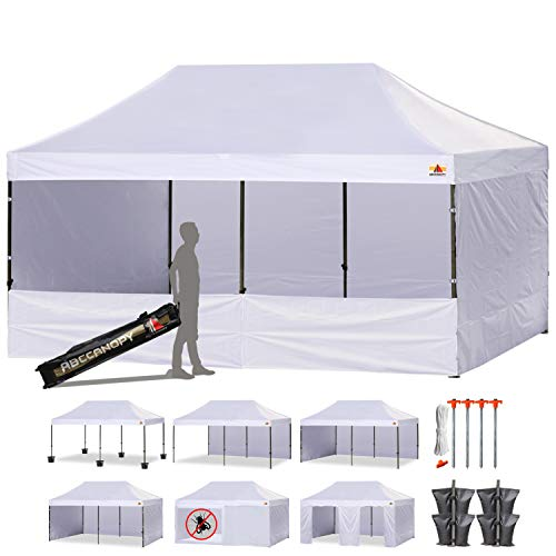 ABCCANOPY 23+Colors 10 X 20 Commercial Easy Pop up Canopy Tent Instant Gazebos with 9 Removable Sides and Roller Bag and 6X Weight Bag (White) (Best Wall Tent 2019)