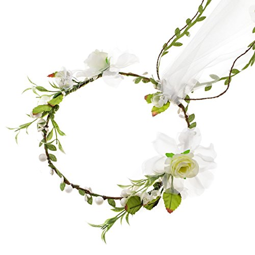 Floral Fall Adjustable Bridal Flower Garland Headband Flower Crown Hair Wreath Halo F-83 (D-Ivory 1 Flower Veil) -