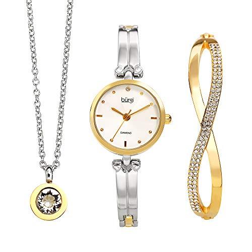 Multi Crystal Bangle Watch - Burgi Women's Jewelry Gift Set - Half Bangle Diamond Watch, Swarovski Crystal Pendant Necklace and Bracelet - Flash Plated Gold and Silver - BUR212TTG-S