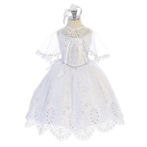 White Embroidered Organza Dress - Angels Garment Little Girls White Embroidered Organza Tail Baptism Dress 3