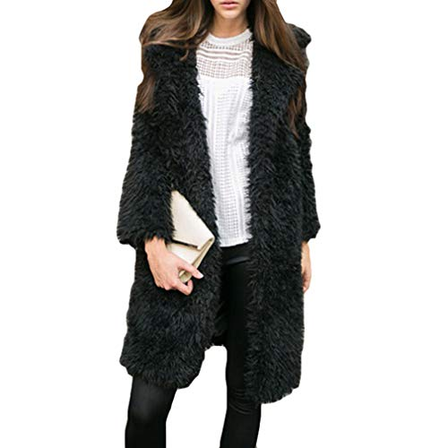 Coat Outwear Yying Cardigan Warm Long Nero Donna Solid Knitted Sleeve Loose q0CPwq8