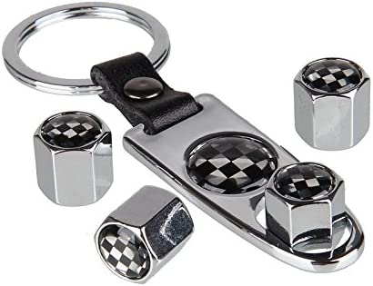 Garage Sixtysix Ventilkappen Set Checkered Flag Chrom Inkl Schlüsselanhänger Auto