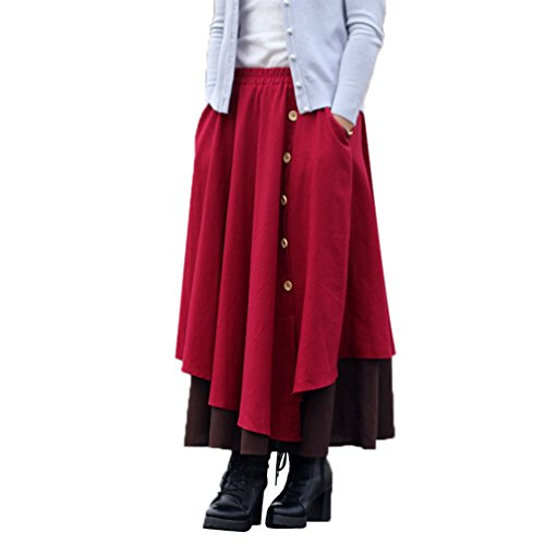 Replient Irrgulire maxi Automne Femme et Jupe Hiver Vin Rouge Longue NiSeng Jupe sur f5qWHxAWXw