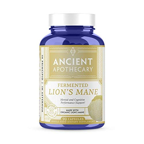 Ancient Apothecary Fermented Lions Mane Mushroom Supplement, 90 Capsules — Infused with Organic Essential Oils, Ashwagandha Extract and Digestive Bitters