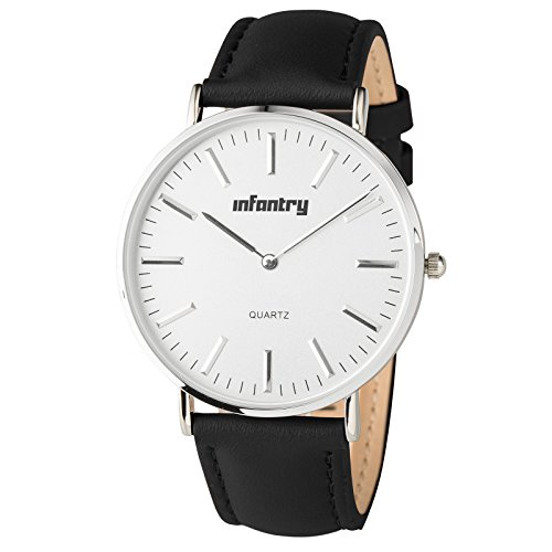 INFANTRY Men's Classic Elegant Business Causal Quartz Analog Wrist Watch, Black Leather Band