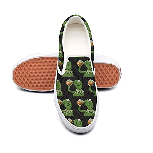 Womens funny green frog sipping tea Fashionable Slip on Walking Sneakers Shoes