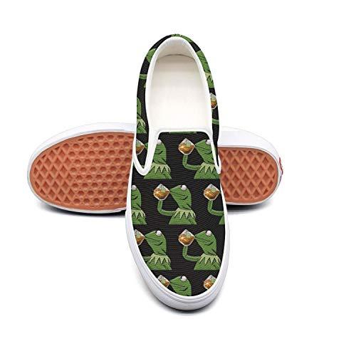 Women funny green frog sipping tea Cute Slip-ons Walking Sneakers Shoes ()