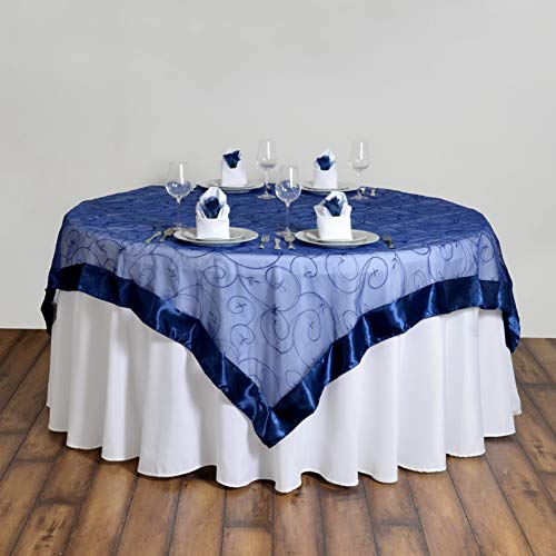 (Mikash 60x60 Embroidered Sheer Organza Table Overlay Unique Wedding Party Decorations | Model WDDNGDCRTN - 15605 |)