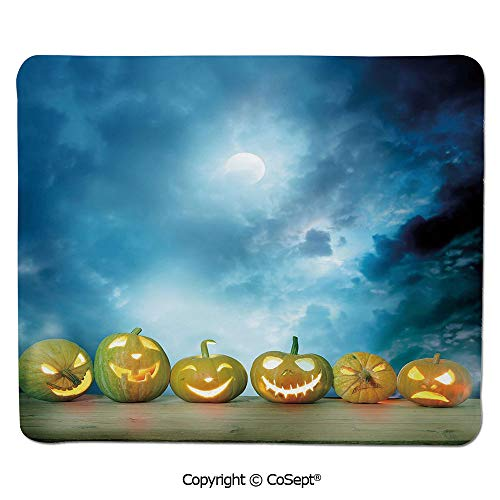 Mouse Pad,Spooky Halloween Pumpkins on Wood Table Dramatic Night Sky Print Decorative,Dual Use Mouse pad for Office/Home (7.87