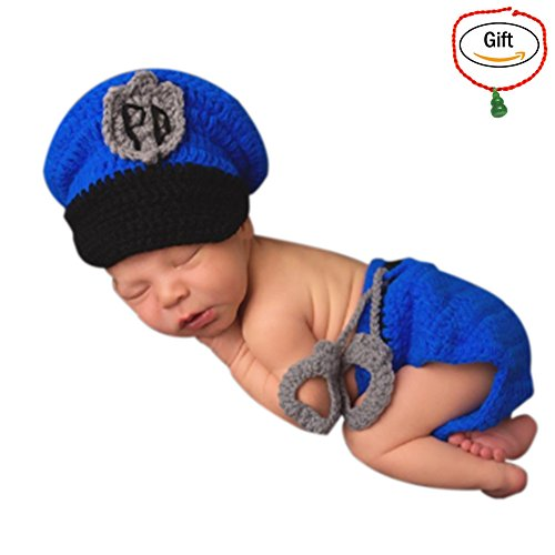 [Baigeda Newborn Baby Boy Girl Clothes Handmade Warm Soft Cashmere Crochet Knit Outfit Set Unisex Baby Cute Infant Costume] (Cute Police Costumes)