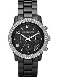 Michael Kors Black Ceramic Link Bracelet Quartz Chronograph Crystal