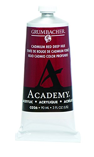 Grumbacher Academy Acrylic Paint, 90ml/3 oz Metal Tube, Cadmium Red Deep Hue