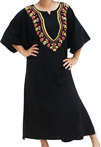 RaanPahMuang BouBou Afrikan Throw Over Dress In Warm Cotton Embroidered Dashiki, Medium, Black