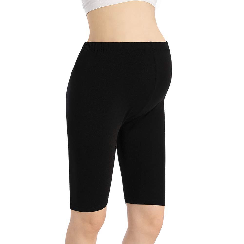 Women Yoga Pregnancy Short Leggings Maternity Knee Length Shorts Over The Belly