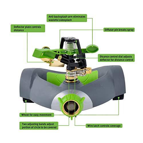 YeStar Garden Lawn Impulse Sprinkler, Adjustable 360° Rotating Portable Yard Sprinkler with Metal Head & Wheeled Base, Water Up to 4,800 Sq. Ft. Coverage