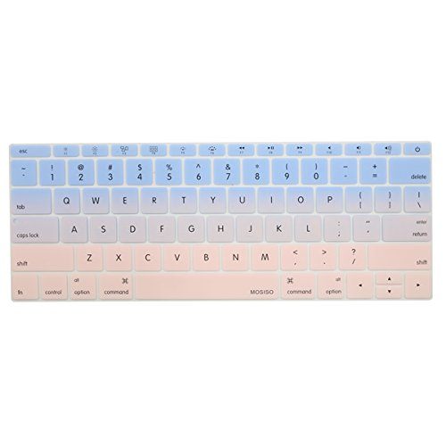 MOSISO Silicone Keyboard Cover Compatible MacBook Pro 13 Inch 2017 & 2016 Release A1708 Without Touch Bar, New MacBook 12 Inch A1534 Protective Skin, Serenity Blue and Rose Quartz