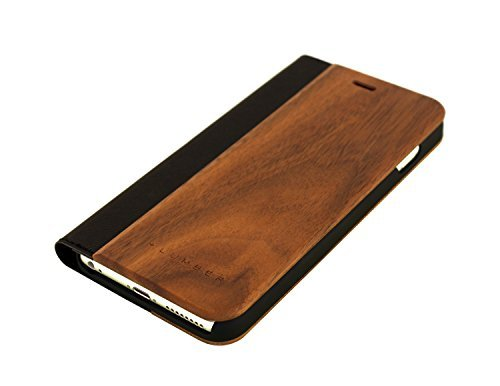 +LUMBER by Hacoa PL058 Wooden iPhone Case for iPhone 8 Plus/7 Plus with Flip Cover (Walnut)