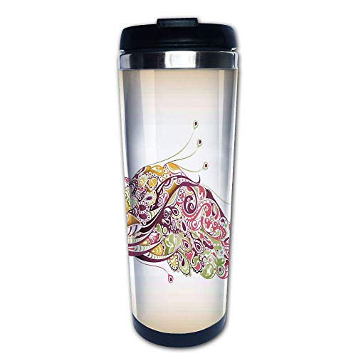 Stainless Steel Insulated Coffee Travel Mug,Colorful Floral Artistic Feather Design,Dried Rose,Spill Proof Flip Lid Insulated Coffee cup Keeps Hot or Cold 13.6oz(400 ml) Customizable ()