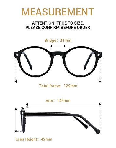 a621a41eaf TIJN Men Women Classic Round Non-prescription Glasses Frosted Eyeglasses  Frame (black