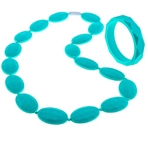 (Beabies Teething Necklace for Mom to Wear and Bracelet/Bangle - Smart Baby Shower Gifts - Breastfeeding Silicone Teether Beads Provide Soothing Pain Relief (Turquoise/Teal))