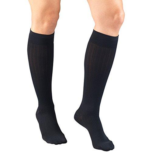Truform Compression Socks for Women, 15-20 mmHg, Navy Rib Pattern, X-Large