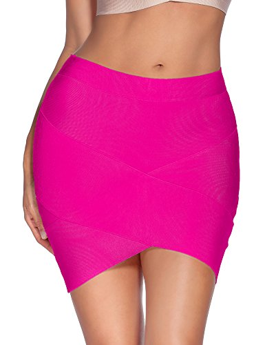 Meilun Women's Rayon Bandage Bodycon Mini Skirt (Medium, Rose red)