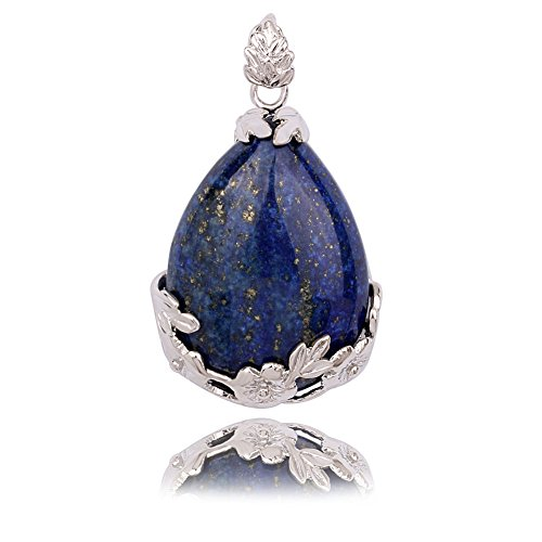 Beautiful Wire Wrap Silver-Plated Inlay Gemstone Jasper Teardrop-shaped Stone Pendant (Lapis (Jasper Teardrop Pendant)