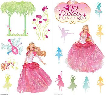 Barbie 12 Dancing Princesses Wall Stickers 28 Peel Stick Buy