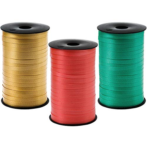 Elcoho 3 Roll Christmas Curling Crimped Ribbon Balloon Band Tie Red Green and Gold for Christmas Parties,Gift Wrapping, Festival, Florist,Crafts, 5 mm, 600 Yard (Red, Green and Gold)