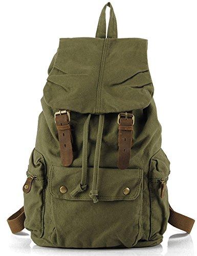 Leaper Causal Style Lightweight Canvas Laptop Bag/Shoulder Bag/School Backpack/Travel Bag (Green)