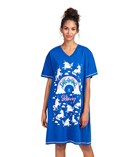 Funny Womens Nightshirt - Little Blue House by Hatley Women's Animal Sleepshirts, Dreaming is Believing - Rainbow Unicorns, One Size