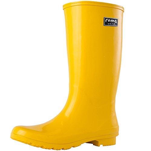 Mid Yellow Footwear - Roma Boots Women's EMMA Mid Rain Boots, Yellow, 8 M US
