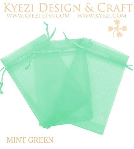 50 Pcs Mint Green 5x7 Sheer Drawstring Organza Bags Jewelry Pouches Wedding Party Favor Gift Bags Gift Bags Candy Bags [Kyezi Design and Craft]