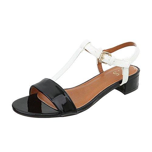 Noir Sandales 4 Bloc Femme Chaussures Ital Sandales Od Laniere a Design Blanc qw6FXAPF8