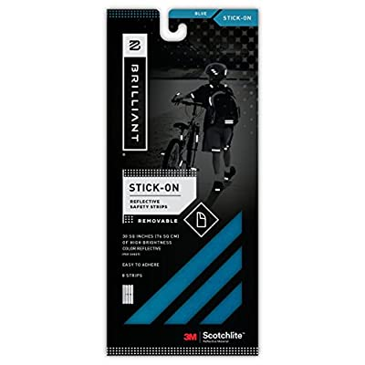 Brilliant  Reflective Reflector Strips -  Stick-On (Blue) - extremely reflective strips with 3M Scotchlite reflective material.: Toys & Games