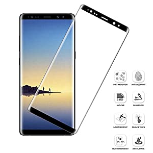NiocTech Galaxy Note 8 Full Cover Glass Screen Protector, 3D 9H Curved Mobile Phone Screen Protector For Samsung Galaxy Note 8 [Black] from NiocTech