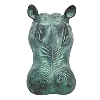 Design Toscano Spitting Hippo Head Solid Bronze Garden Statue