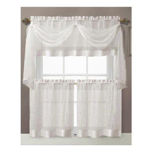 Vine Embroidered Kitchen Window Curtain Set- 1 Valance with