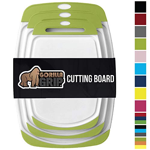 GORILLA GRIP Original Reversible Cutting Board (3-Piece), BPA Free, Juice Grooves, Larger Thicker Boards, Easy Grip Handle, Dishwasher Safe, Non-Porous, Extra Large, Kitchen (Set of Three: Lime Green)