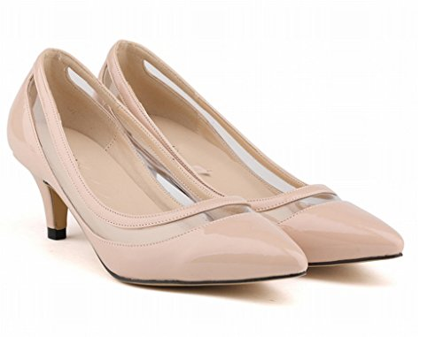Women's Elegant Sexy Kitten Heels Slip On Shoes Pointed Toe Dress Pumps Nude Patent Pu