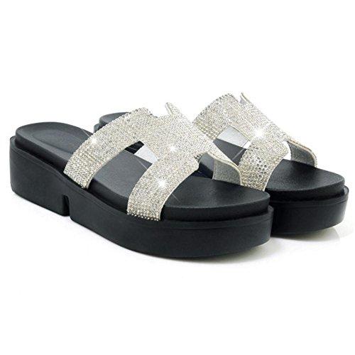 Suola TAOFFEN Pantofole Scarpe Donna White Spessa zcvqB8w